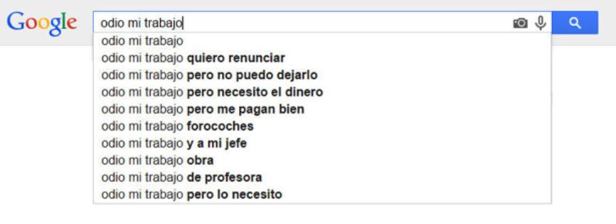 Búsqueda de Google sobre odiar tu trabajo